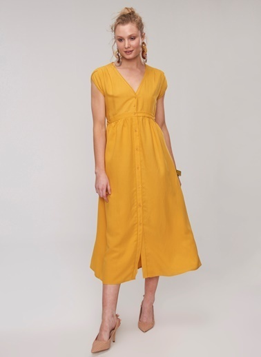 People By Fabrika Kol Detaylı Elbise Hardal